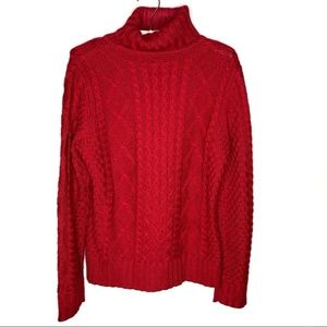 LL Bean red chunky knit fisherman's style sweater